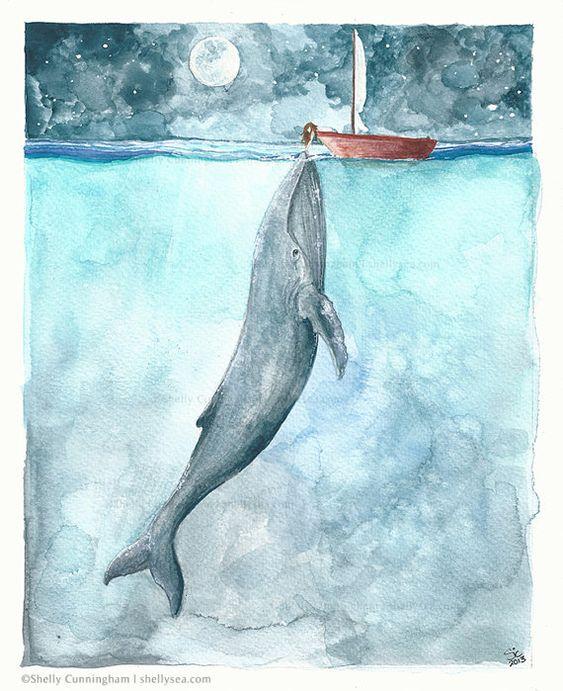 dívka  velryba touha duše spojení s duší